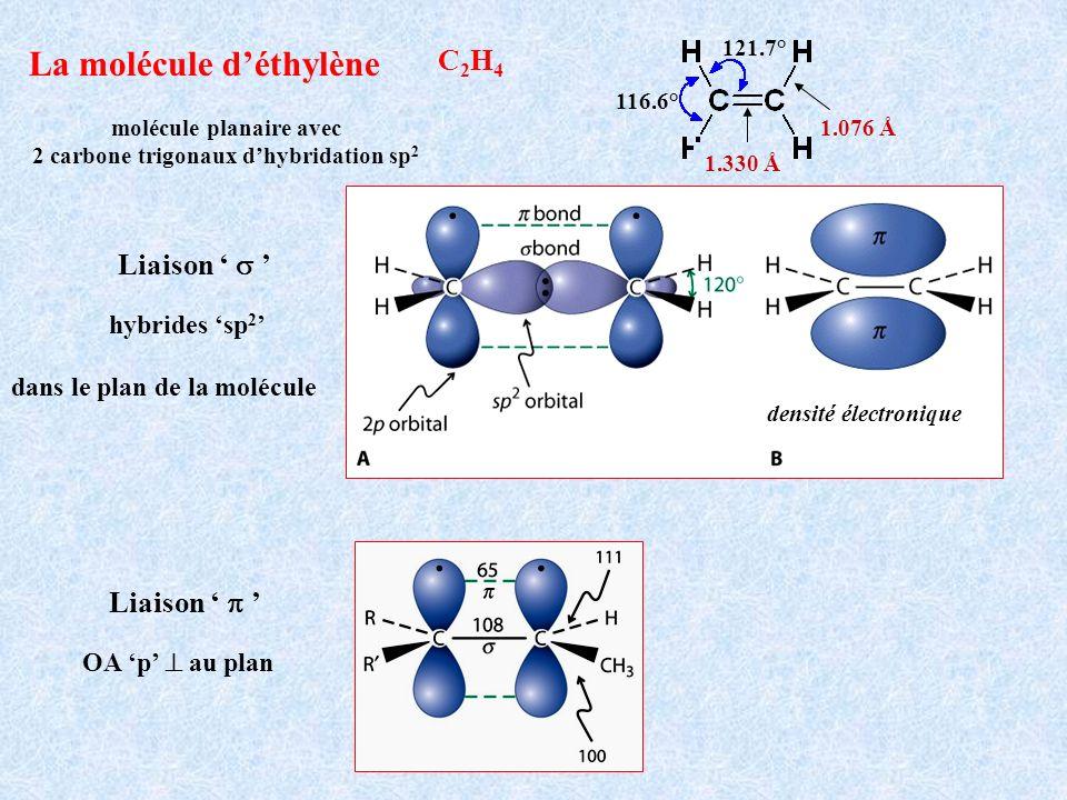 molécule planaire avec 2 carbone trigonaux d'hybridation sp2