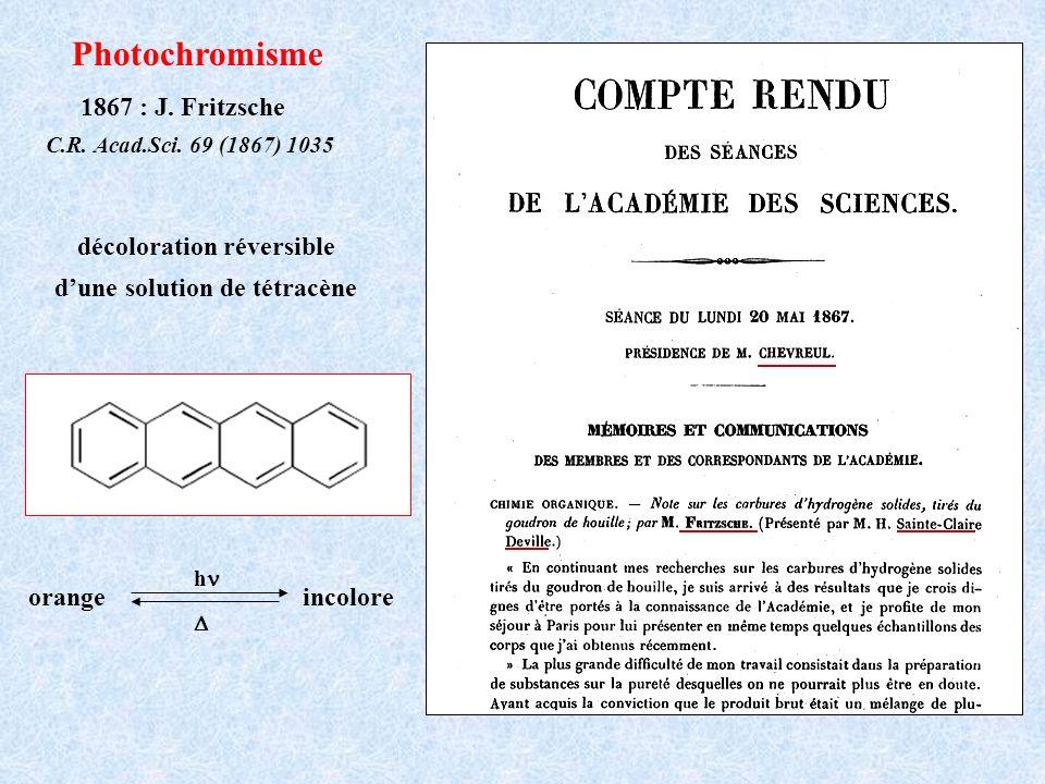 décoloration réversible d'une solution de tétracène