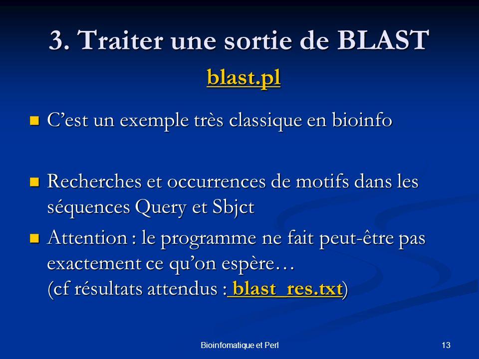 3. Traiter une sortie de BLAST blast.pl