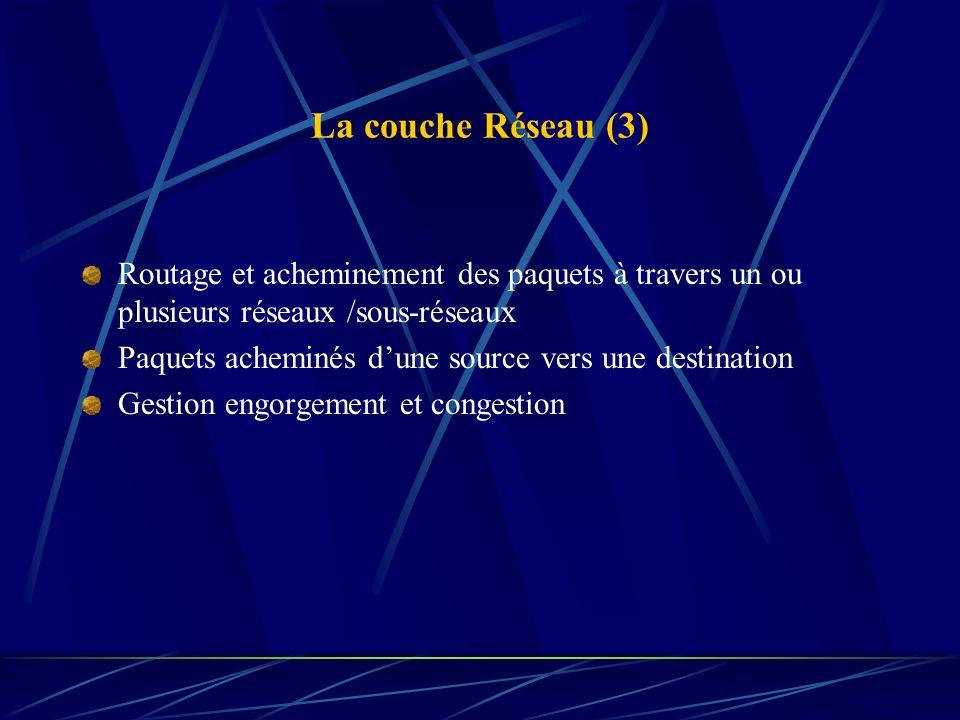 La couche Réseau (3) Routage et acheminement des paquets à travers un ou plusieurs réseaux /sous-réseaux.