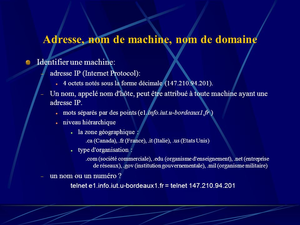 Adresse, nom de machine, nom de domaine