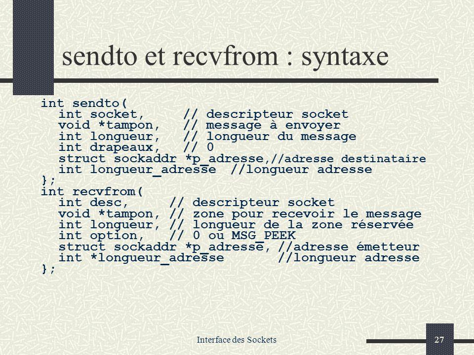 sendto et recvfrom : syntaxe