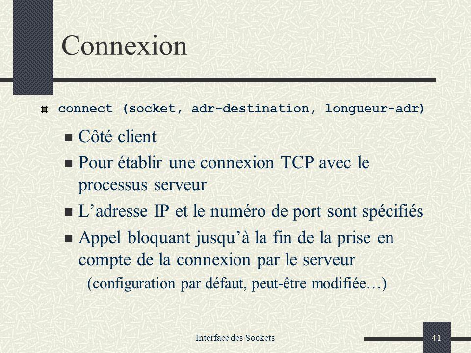 Connexion connect (socket, adr-destination, longueur-adr) Côté client. Pour établir une connexion TCP avec le processus serveur.
