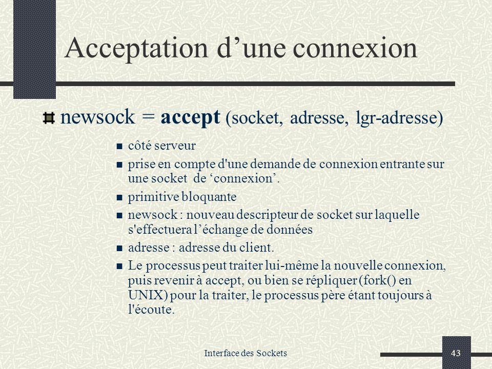 Acceptation d'une connexion