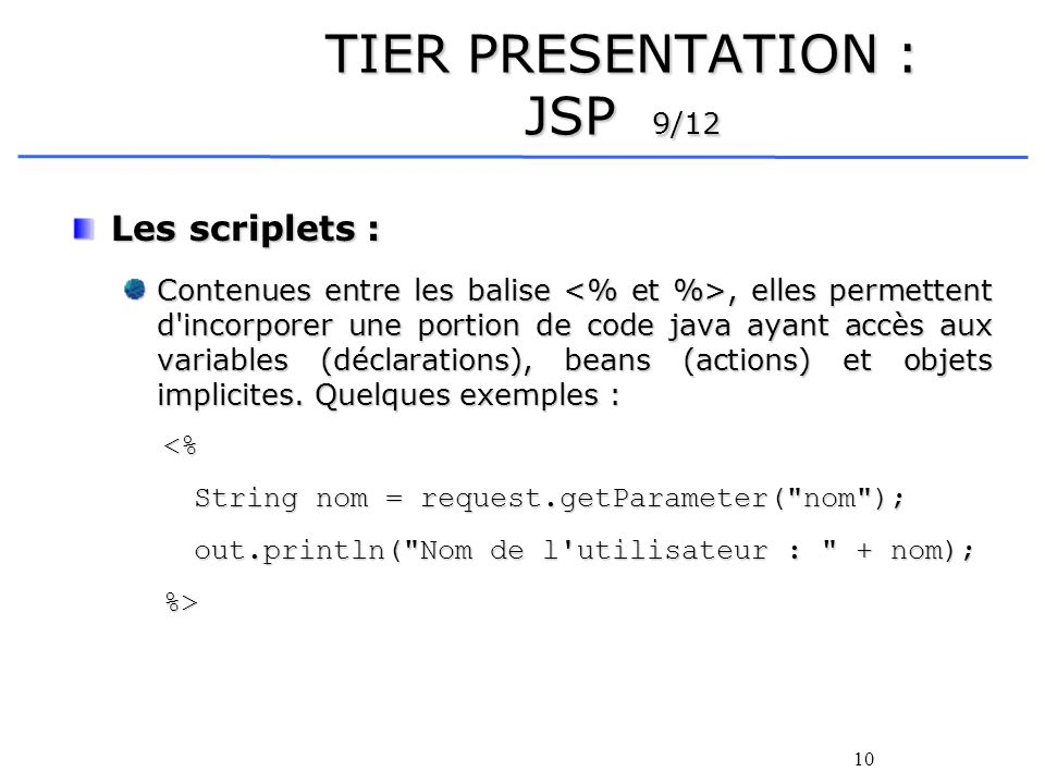 TIER PRESENTATION : JSP 9/12
