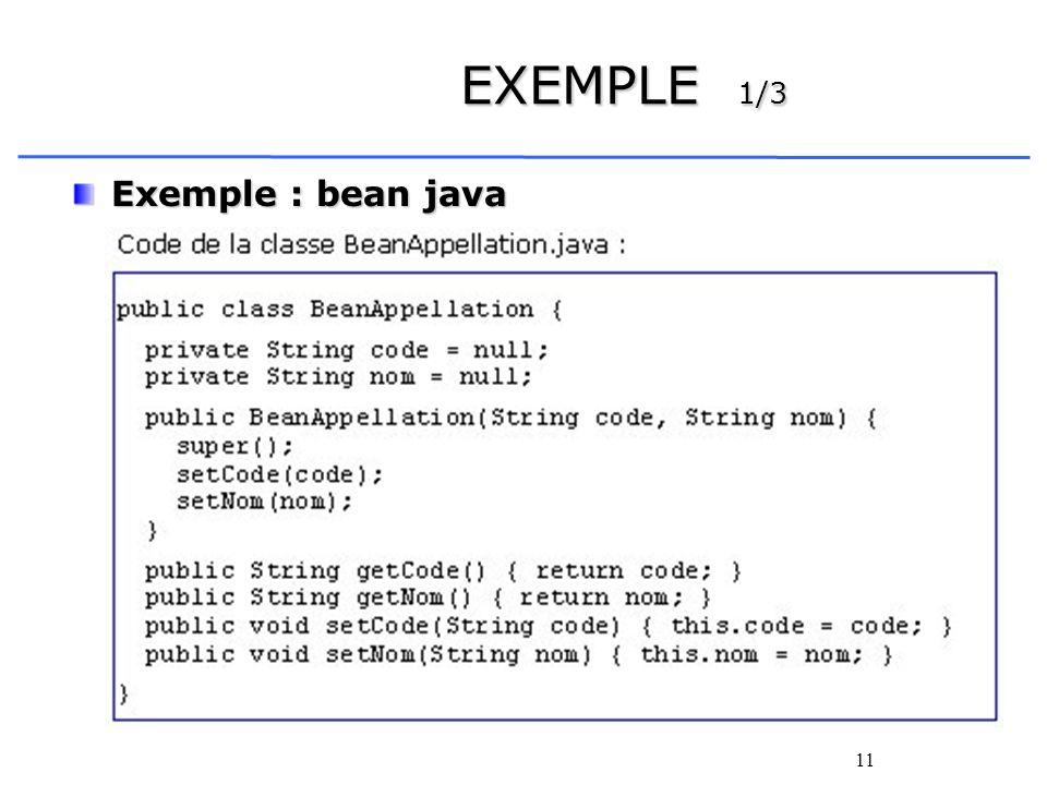 EXEMPLE 1/3 Exemple : bean java