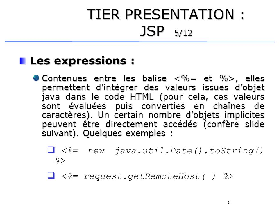 TIER PRESENTATION : JSP 5/12