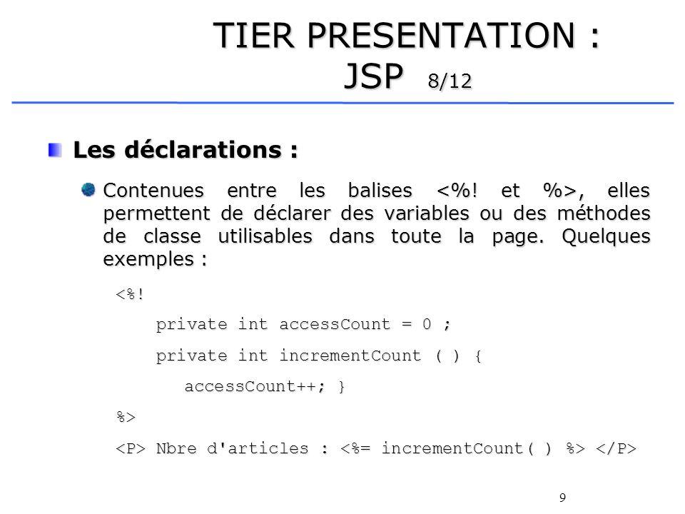 TIER PRESENTATION : JSP 8/12