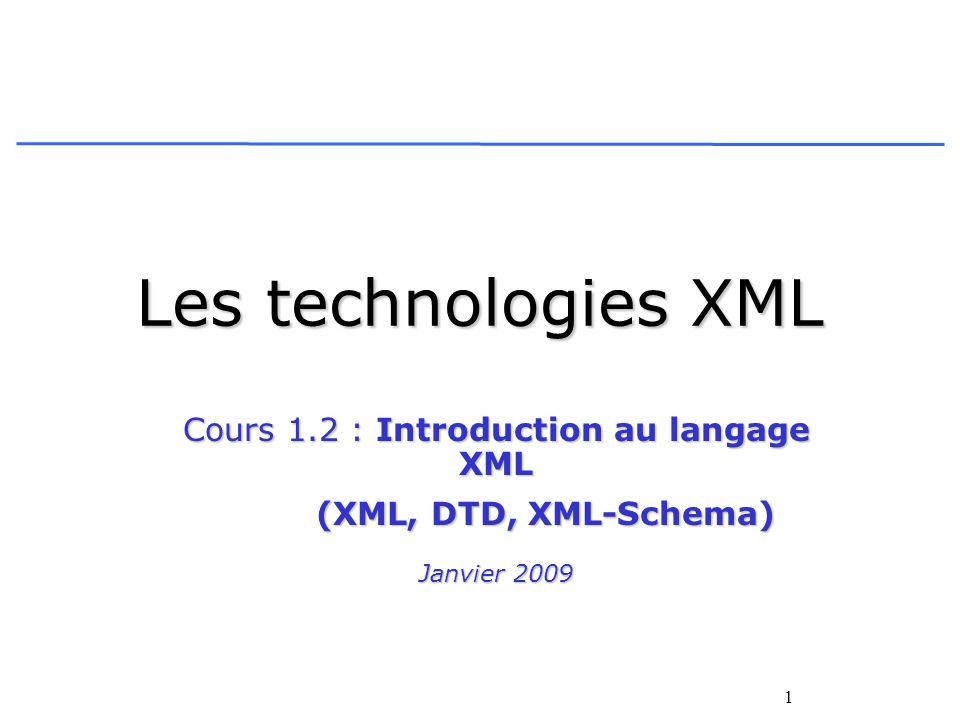 Cours 1.2 : Introduction au langage XML