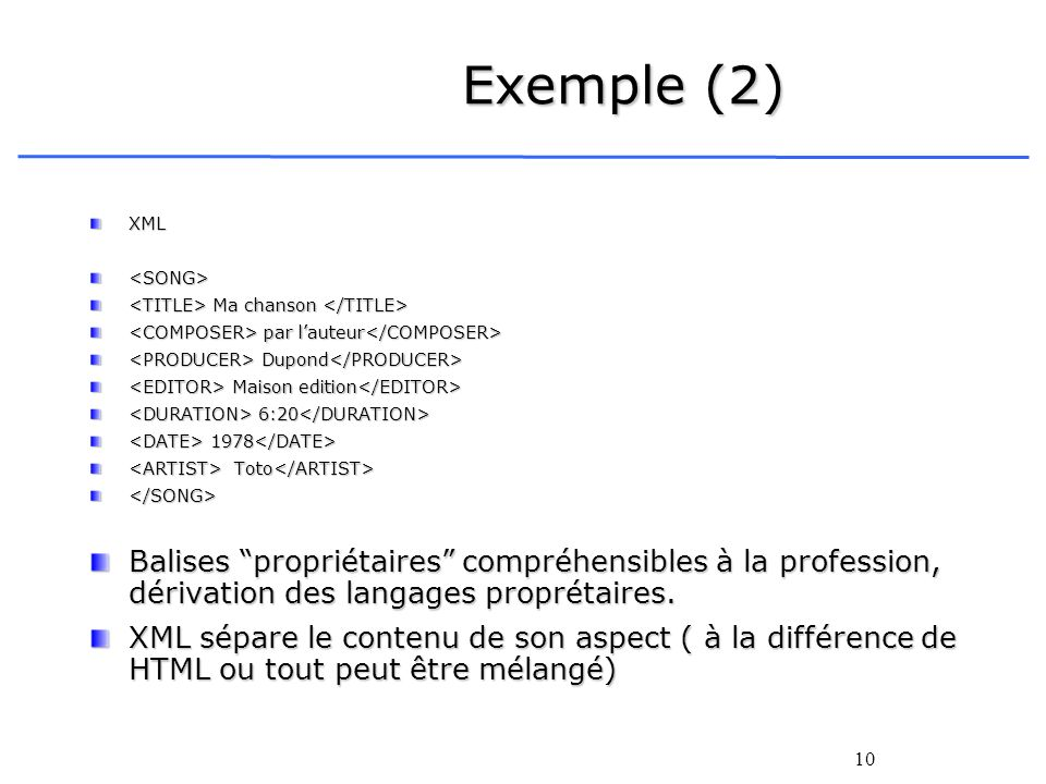 Exemple (2)XML. <SONG> <TITLE> Ma chanson </TITLE> <COMPOSER> par l'auteur</COMPOSER> <PRODUCER> Dupond</PRODUCER>