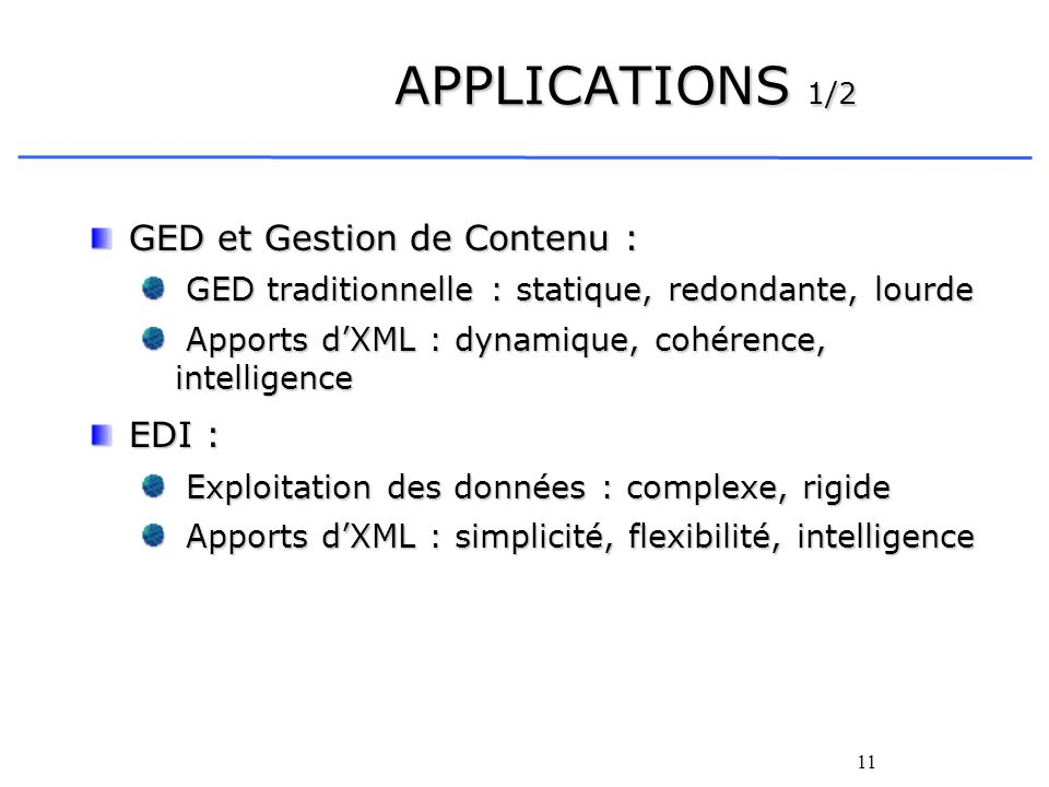 APPLICATIONS 1/2 GED et Gestion de Contenu : EDI :