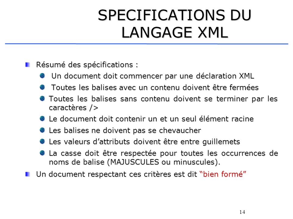 SPECIFICATIONS DU LANGAGE XML
