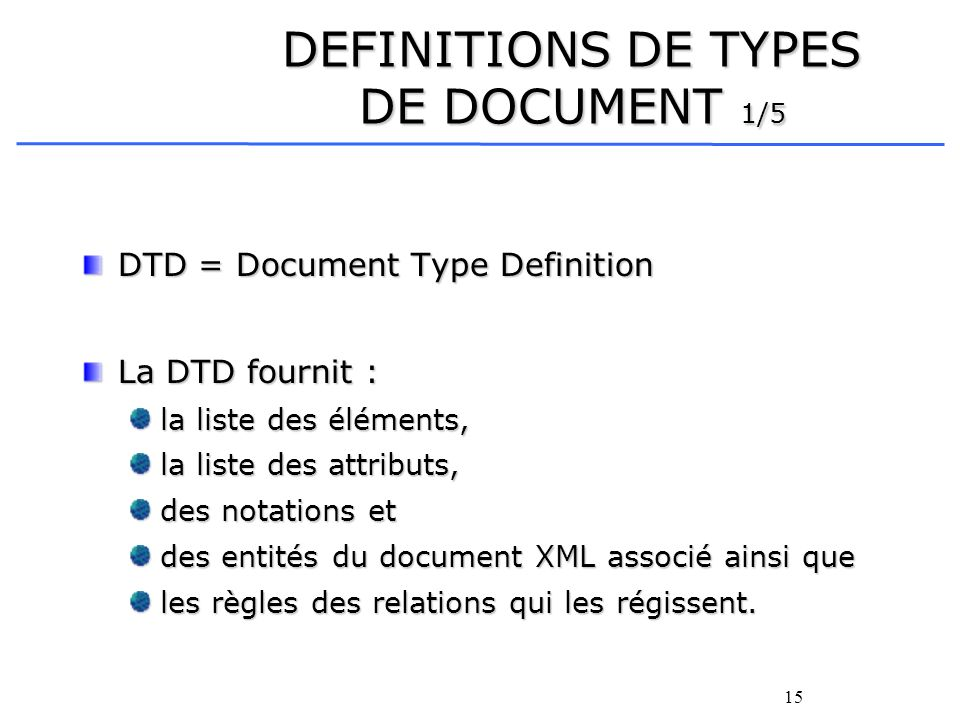 DEFINITIONS DE TYPES DE DOCUMENT 1/5