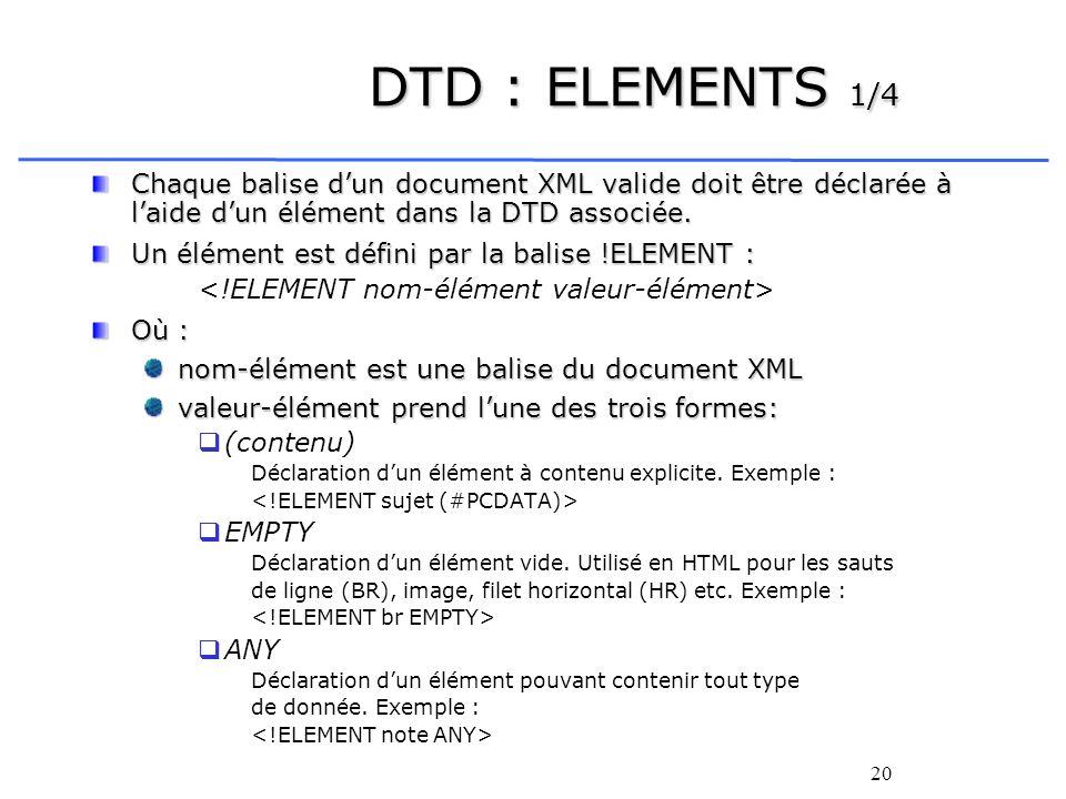 DTD : ELEMENTS 1/4Chaque balise d'un document XML valide doit être déclarée à l'aide d'un élément dans la DTD associée.