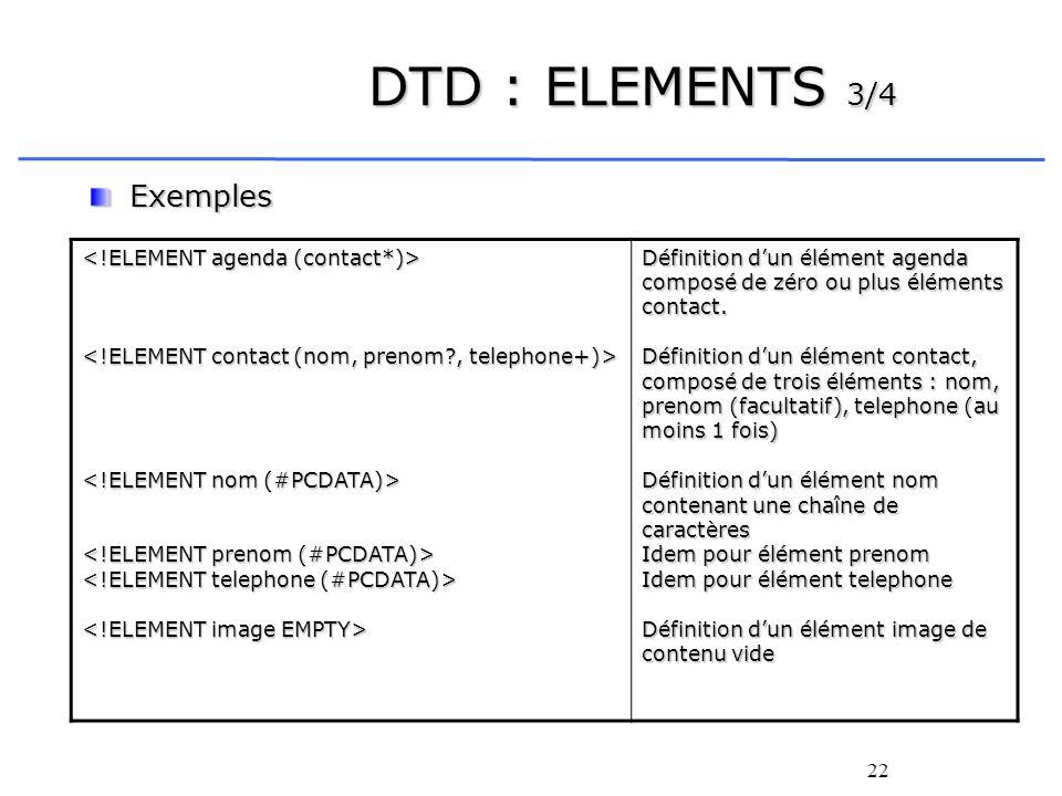 DTD : ELEMENTS 3/4 Exemples <!ELEMENT agenda (contact*)>
