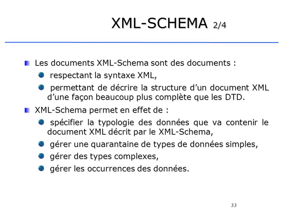 XML-SCHEMA 2/4 Les documents XML-Schema sont des documents :