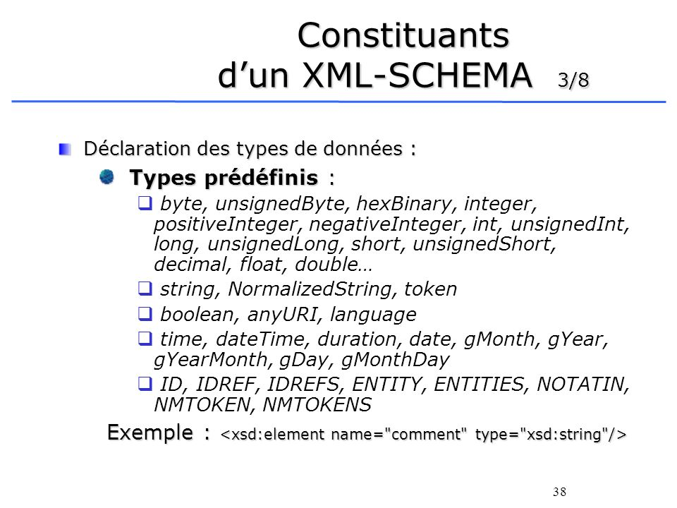 Constituants d'un XML-SCHEMA 3/8