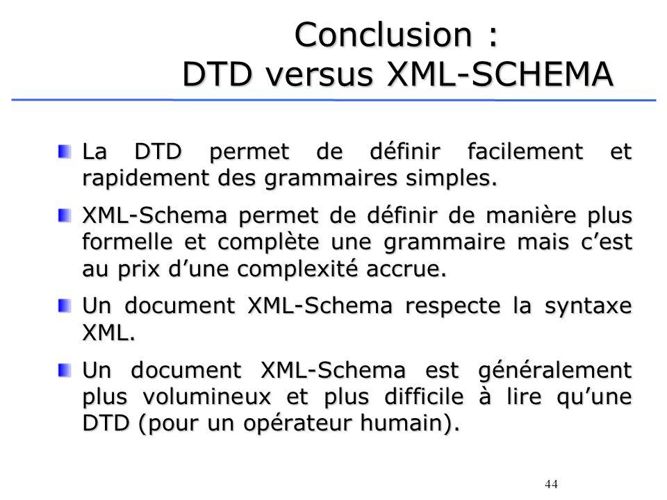 Conclusion : DTD versus XML-SCHEMA