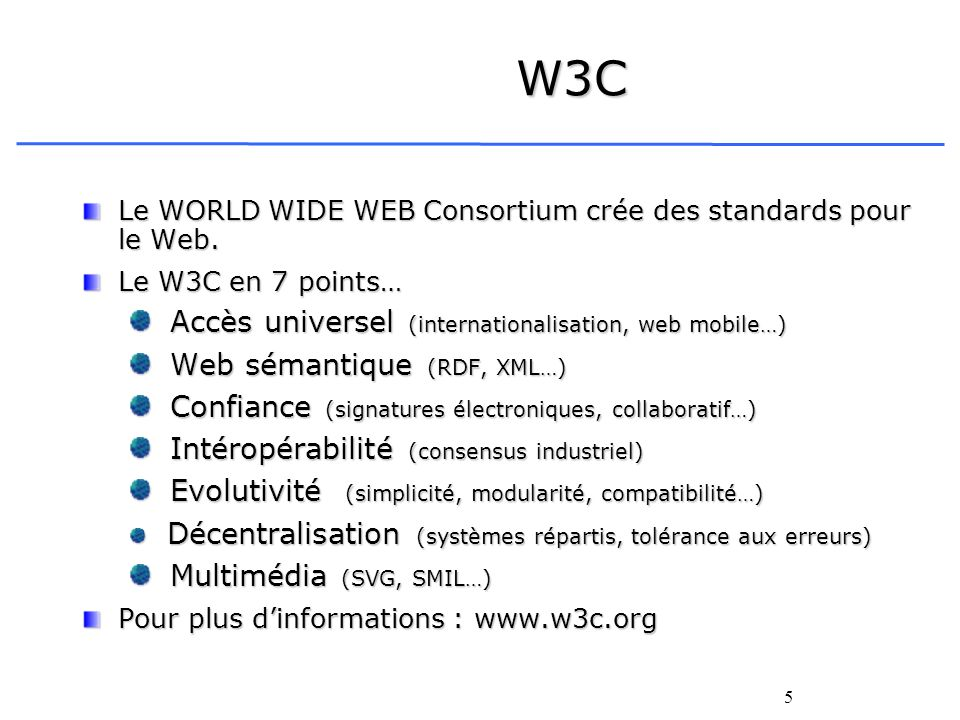 W3C Accès universel (internationalisation, web mobile…)