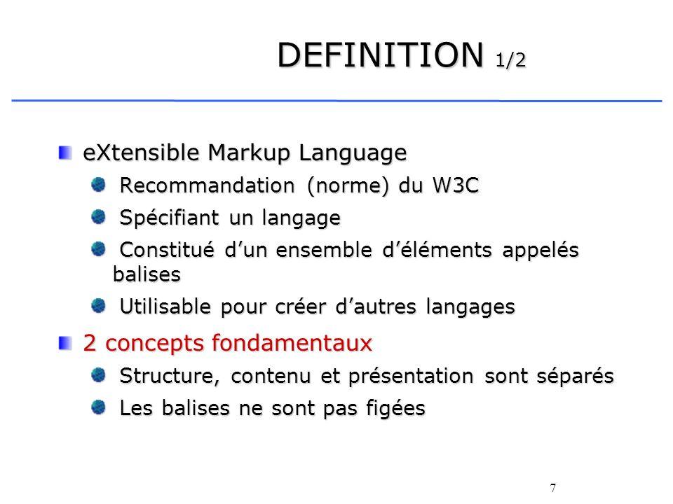 DEFINITION 1/2 eXtensible Markup Language 2 concepts fondamentaux