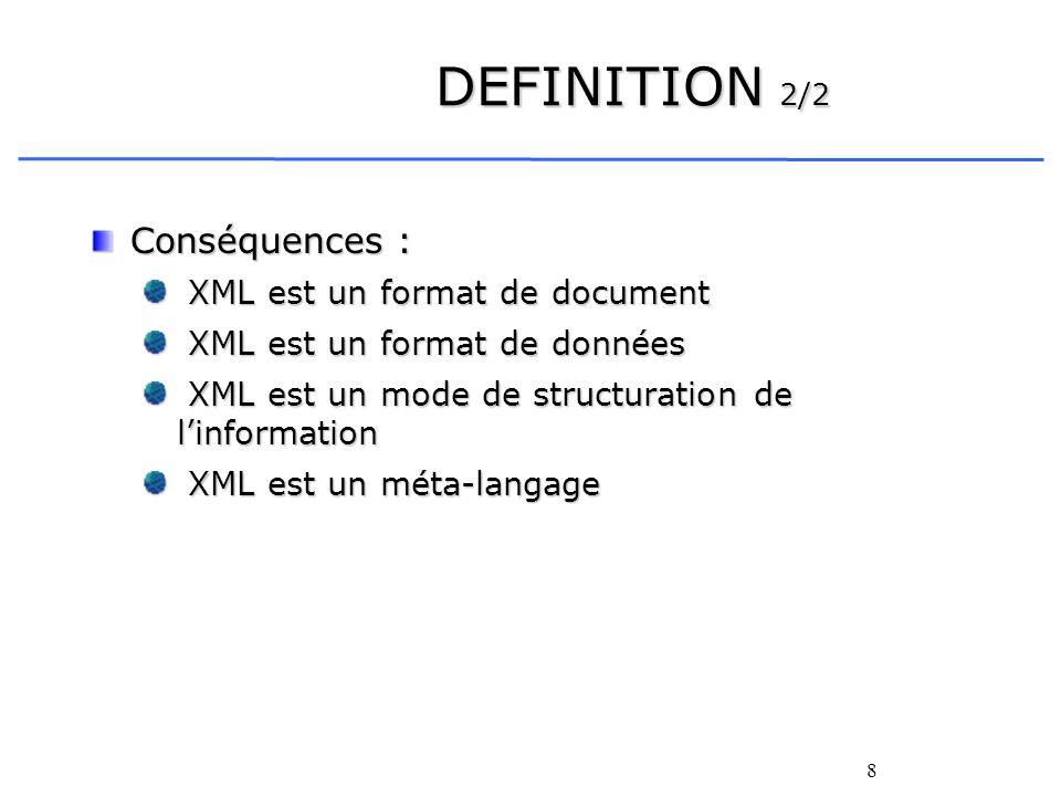 DEFINITION 2/2 Conséquences : XML est un format de document