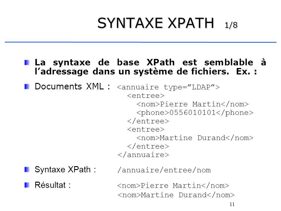 SYNTAXE XPATH 1/8 La syntaxe de base XPath est semblable à l'adressage dans un système de fichiers. Ex. :