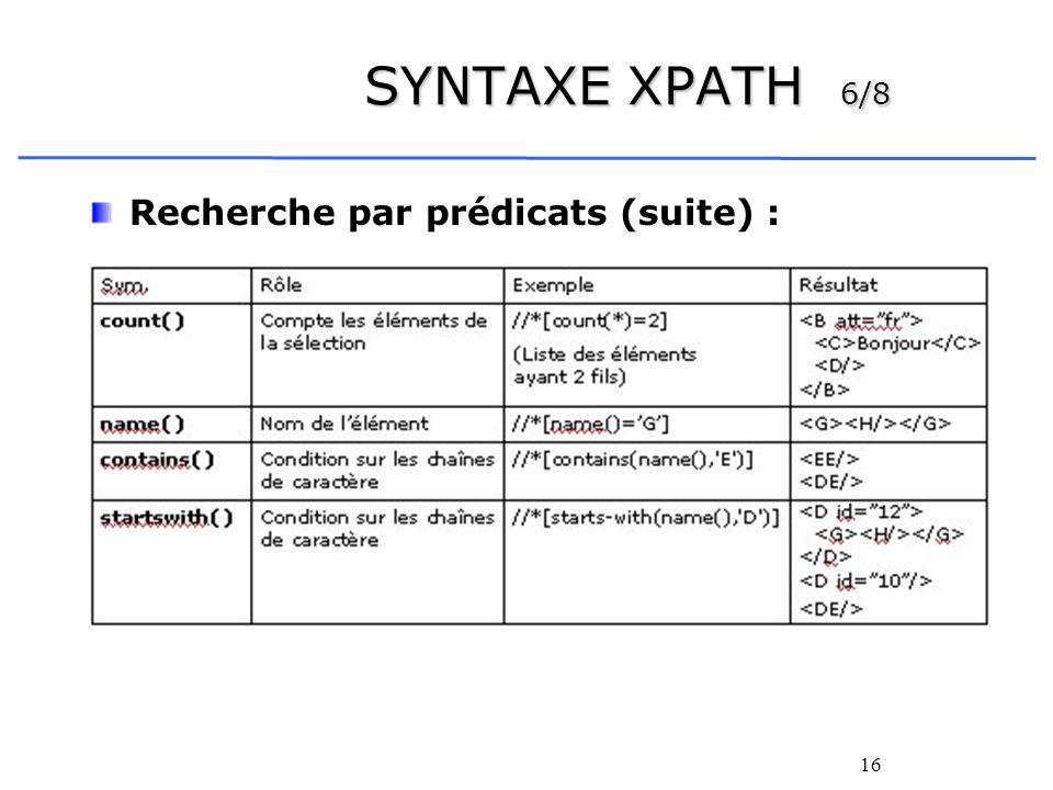 SYNTAXE XPATH 6/8 Recherche par prédicats (suite) :