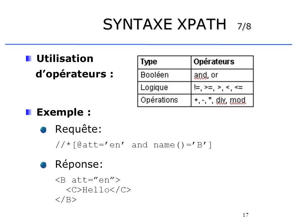 SYNTAXE XPATH 7/8 Utilisation d'opérateurs : Exemple : Requête: