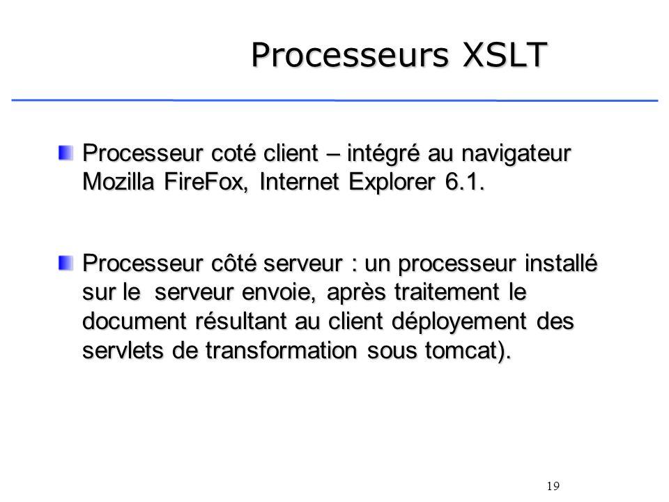 Processeurs XSLT Processeur coté client – intégré au navigateur Mozilla FireFox, Internet Explorer 6.1.
