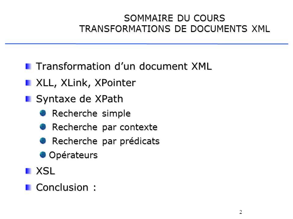 SOMMAIRE DU COURS TRANSFORMATIONS DE DOCUMENTS XML
