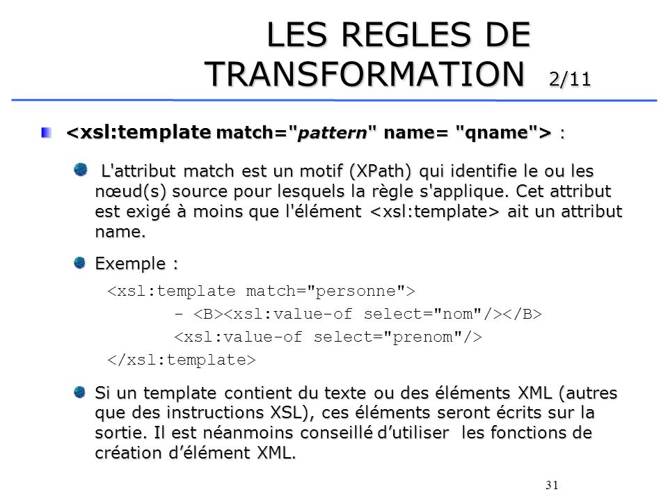 LES REGLES DE TRANSFORMATION 2/11
