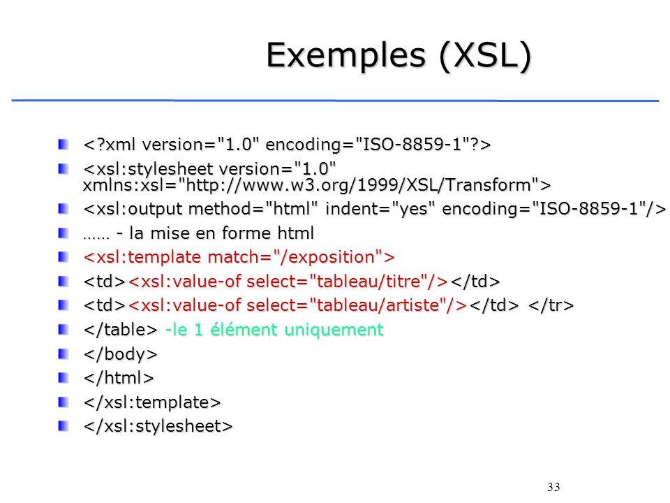 Exemples (XSL) < xml version= 1.0 encoding= ISO-8859-1 >