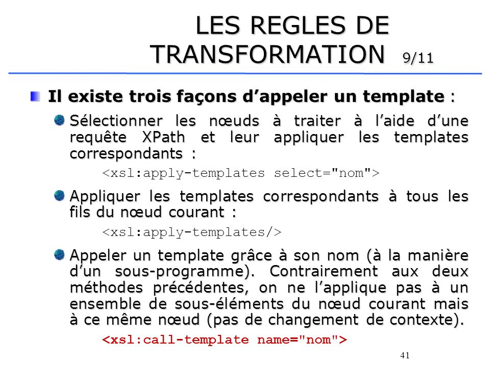 LES REGLES DE TRANSFORMATION 9/11