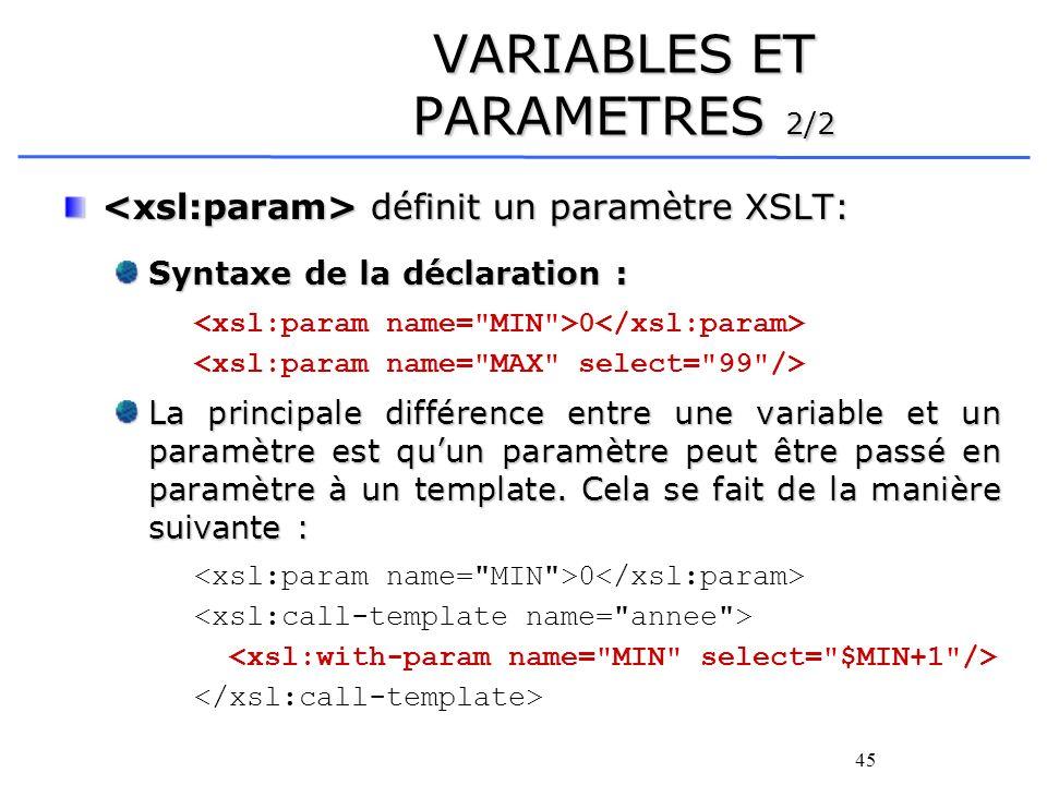 VARIABLES ET PARAMETRES 2/2