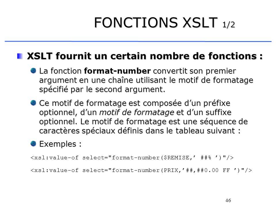 FONCTIONS XSLT 1/2 XSLT fournit un certain nombre de fonctions :
