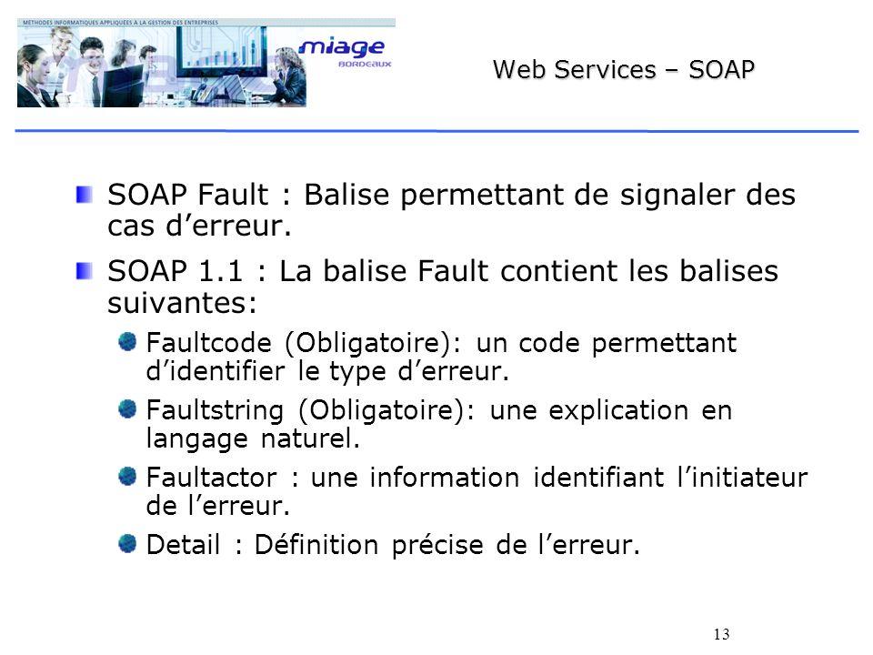 SOAP Fault : Balise permettant de signaler des cas d'erreur.