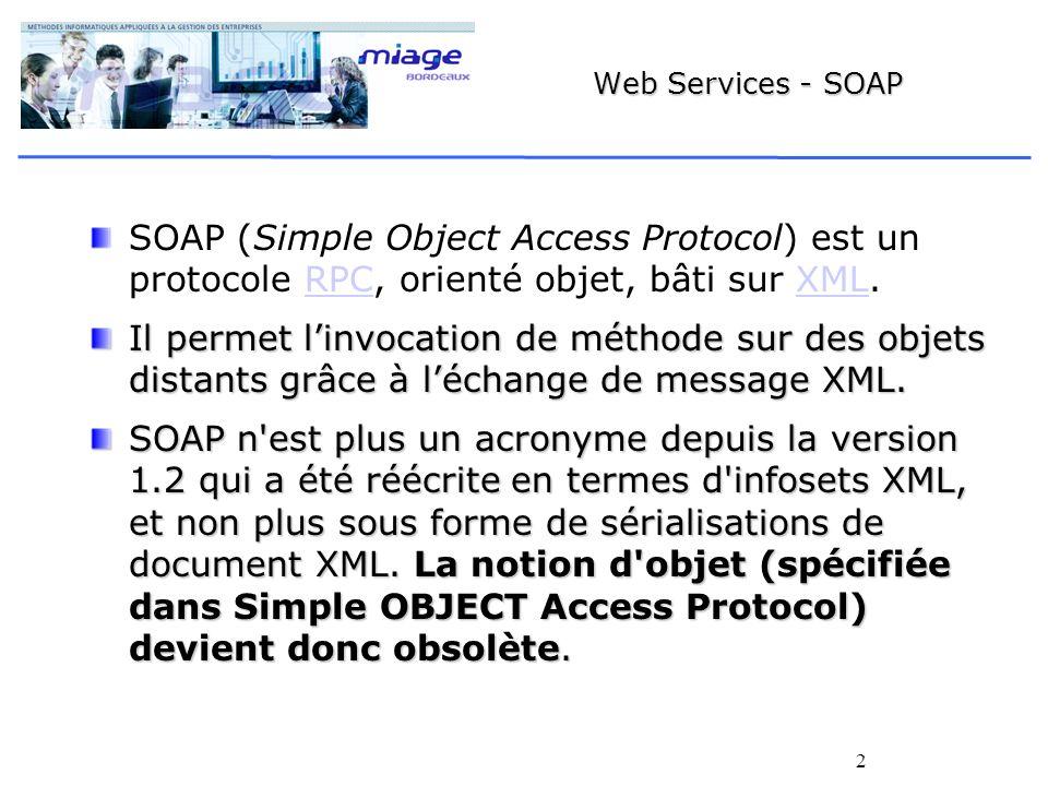 Web Services - SOAP SOAP (Simple Object Access Protocol) est un protocole RPC, orienté objet, bâti sur XML.