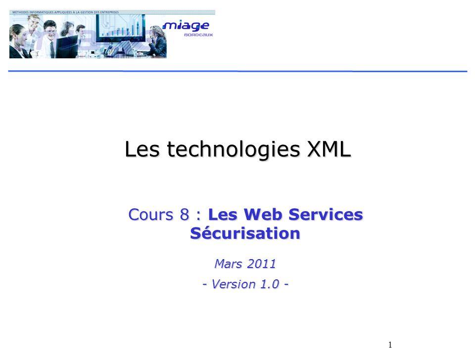 Cours 8 : Les Web Services Sécurisation Mars 2011 - Version 1.0 -