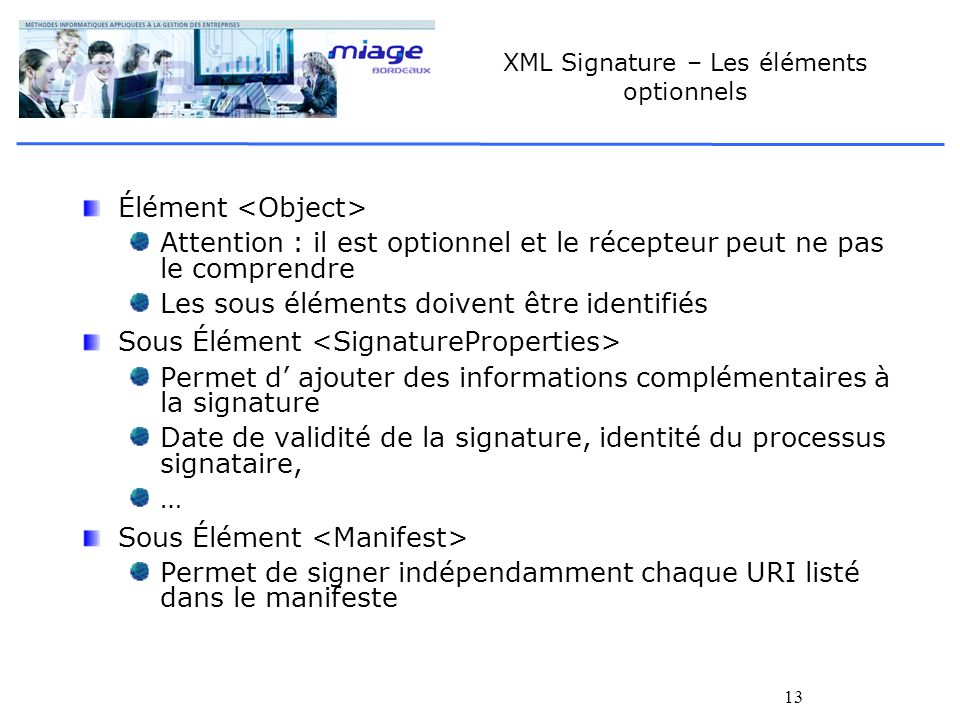 XML Signature – Les éléments optionnels