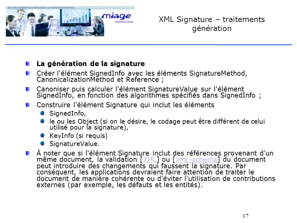 XML Signature – traitements génération