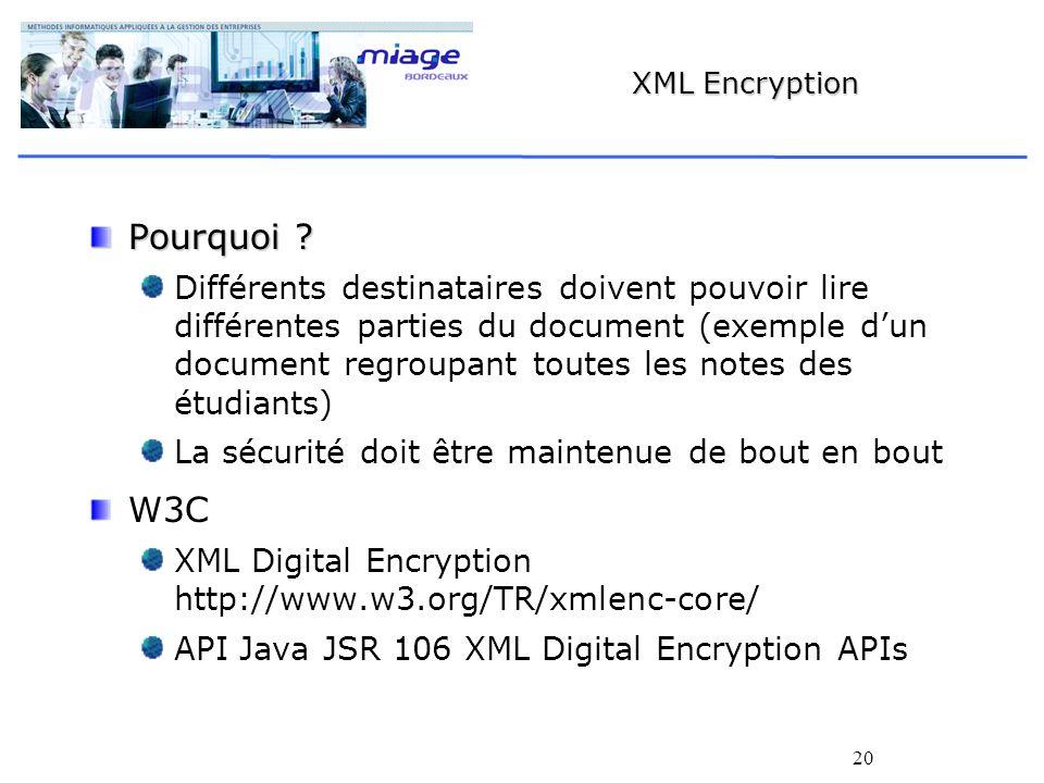 XML Encryption Pourquoi