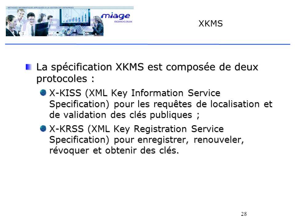 La spécification XKMS est composée de deux protocoles :