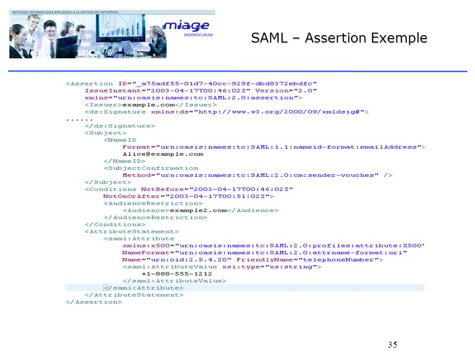 SAML – Assertion Exemple