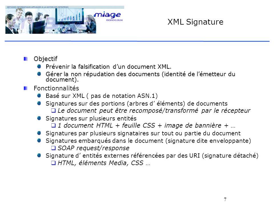 XML Signature Objectif Fonctionnalités