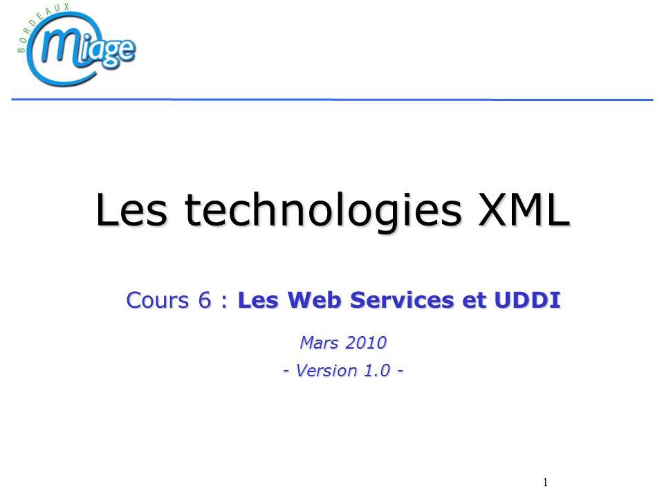 Cours 6 : Les Web Services et UDDI Mars 2010 - Version 1.0 -