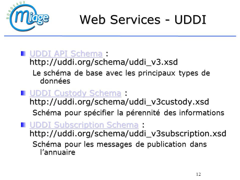 Web Services - UDDI UDDI API Schema : http://uddi.org/schema/uddi_v3.xsd. Le schéma de base avec les principaux types de données.