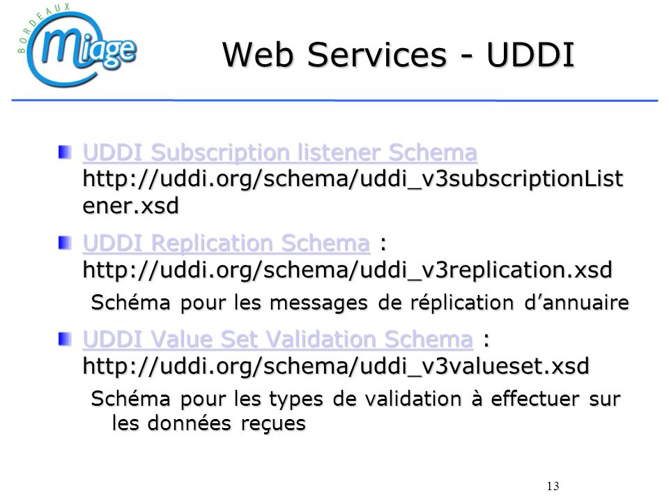 Web Services - UDDI UDDI Subscription listener Schema http://uddi.org/schema/uddi_v3subscriptionListener.xsd.