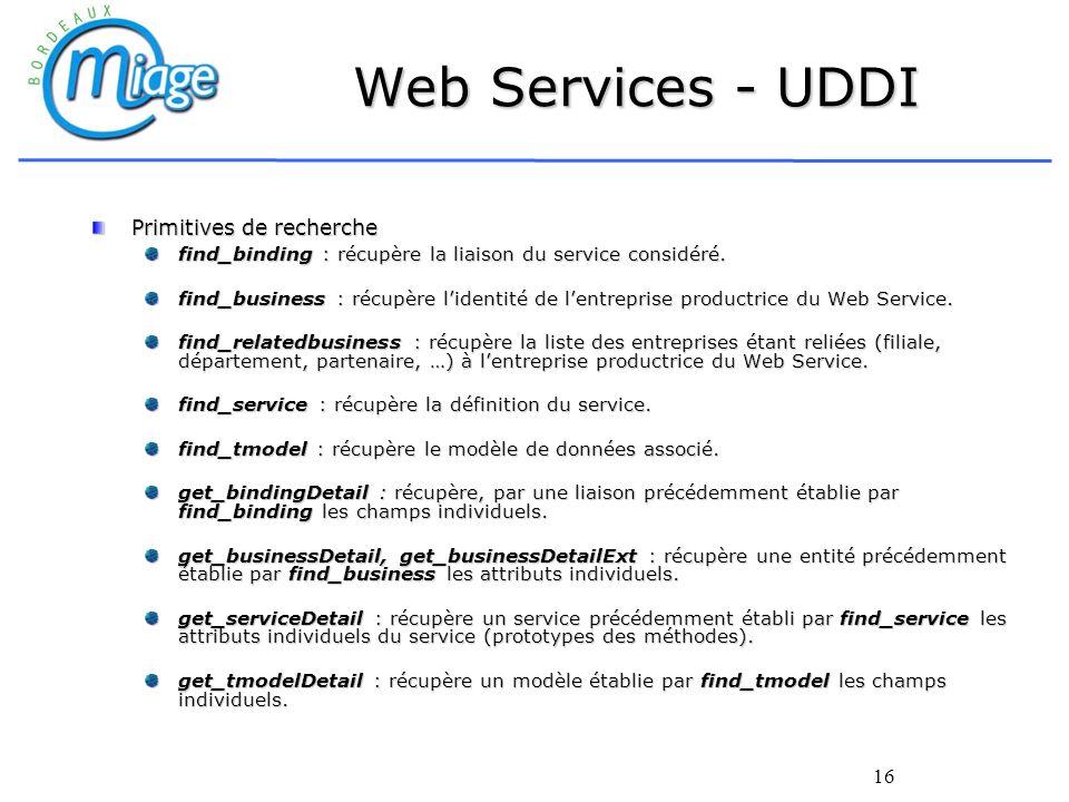 Web Services - UDDI Primitives de recherche