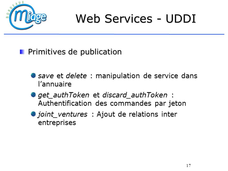 Web Services - UDDI Primitives de publication