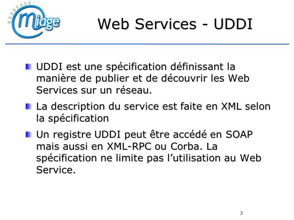 Web Services - UDDI UDDI est une spécification définissant la manière de publier et de découvrir les Web Services sur un réseau.